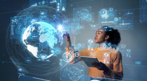 woman pressing technology hologram