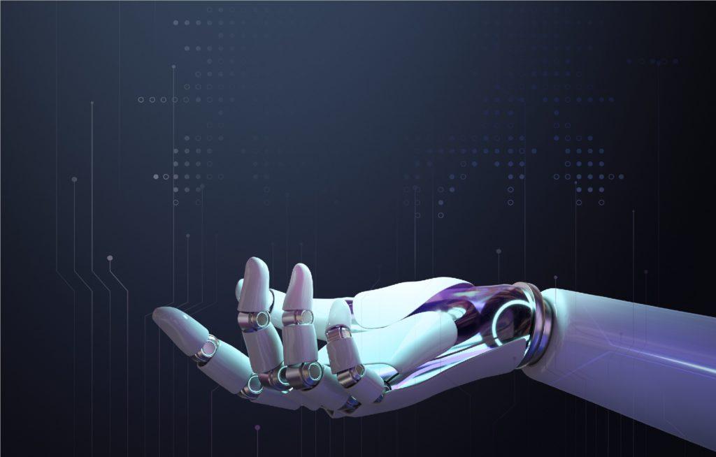 3D robot hand background